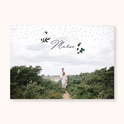 Carte de remerciement mariage Cuty Calligraphy Recto