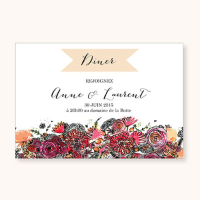 Coupon-diner Romantic Flowers Recto