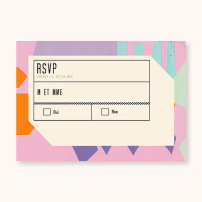Coupon rsvp à personnaliser Flashy Eighties - face