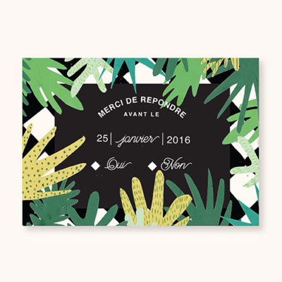 Coupon rsvp à personnaliser Gatsby's Jungle - face