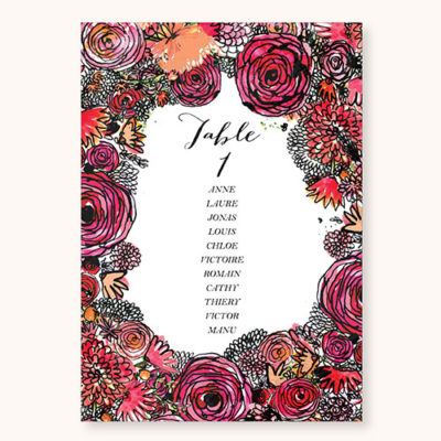 Plan de table Romantic Flowers Recto
