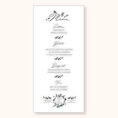 menu de mariage Cuty Calligraphy Recto