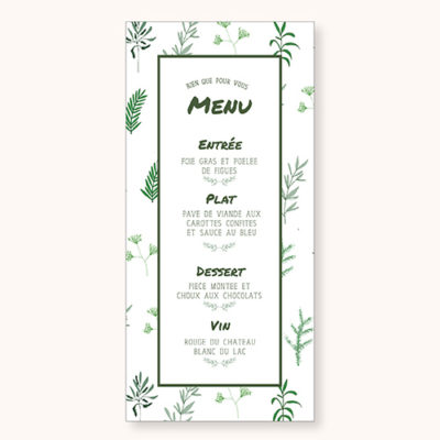 Menu Simply Botanic Recto