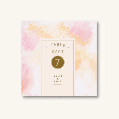 Numéro de table rose pâle Orange Dreams